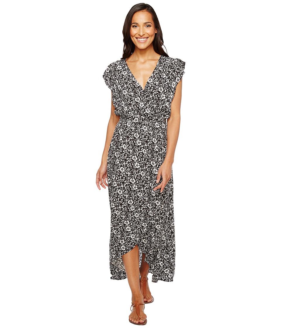 Splendid Printed Ruffle Wrap Dress (Black Multi) Women