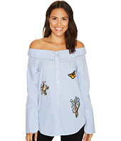 ROMEO & JULIET COUTURE - Off Shoulder Embroidery Patch Top