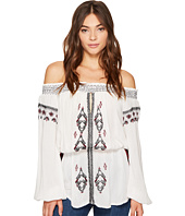 ROMEO & JULIET COUTURE - Off Shoulder Embroidered Woven Tunic
