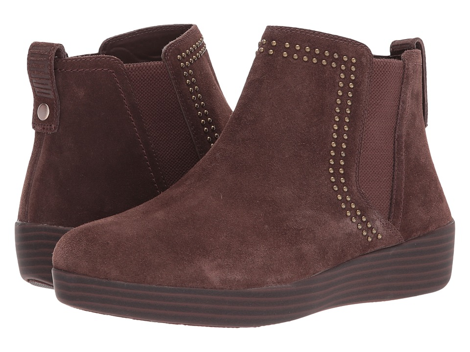 FitFlop Superchelsea Suede Boot w/ Studs (Chocolate) Women
