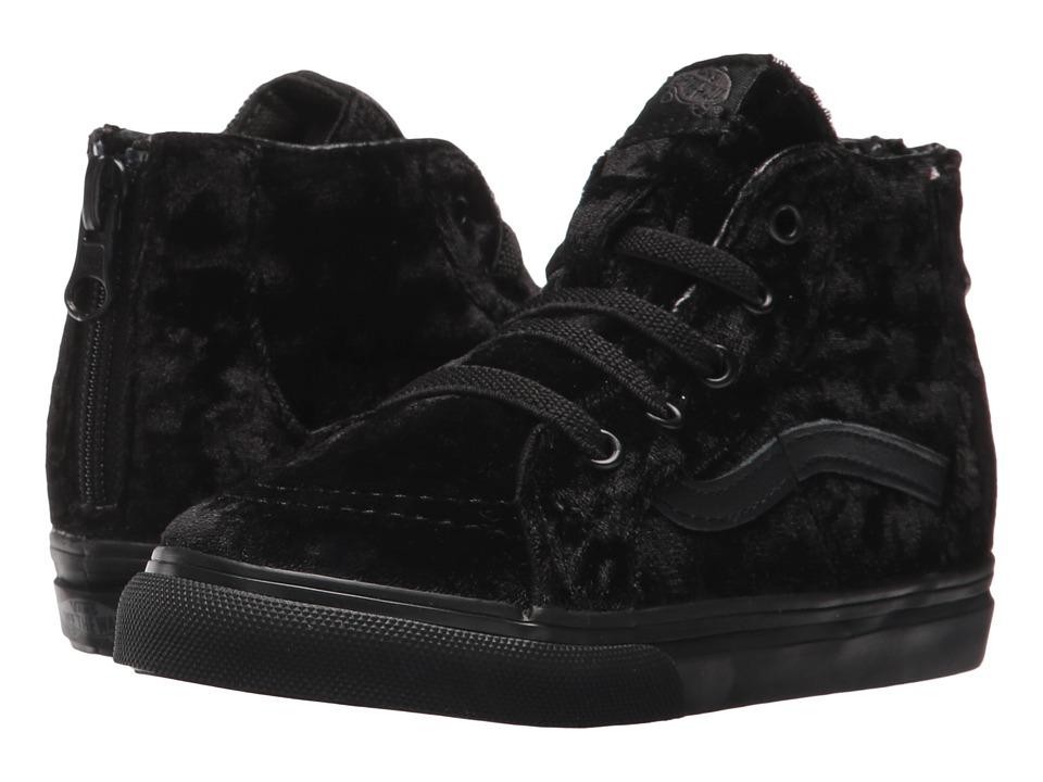 Vans Kids Sk8-Hi Zip (Toddler) ((Velvet) Black/Black) Girls Shoes