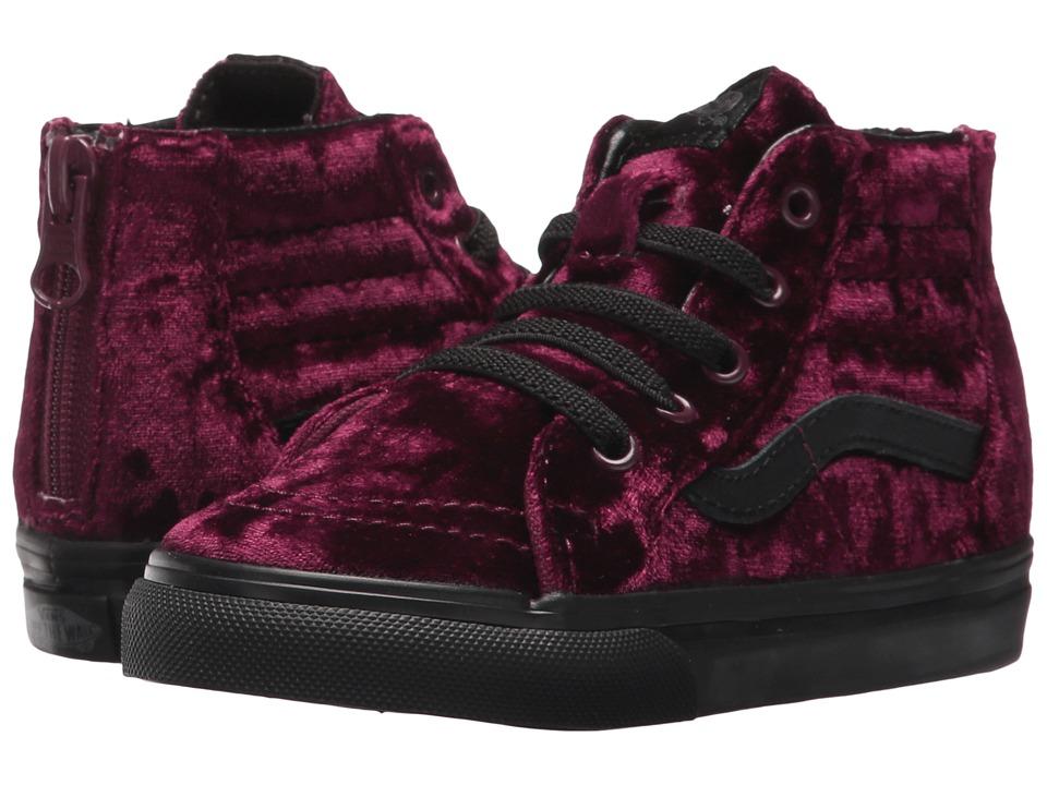 Vans Kids Sk8-Hi Zip (Toddler) ((Velvet) Red/Black) Girls Shoes