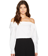 CeCe - Long Sleeve Off Shoulder Bow Front Poplin Shirt