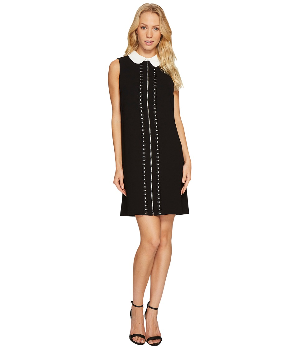 CeCe Sleeveless Eyelet Embroidered Collared Dress (Rich Black) Women