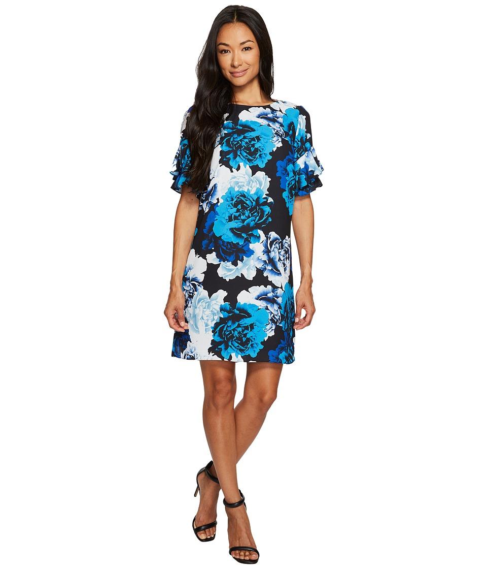 CeCe Tiered Ruffle Sleeve Stately Bouquet Dress (Rich Black) Women
