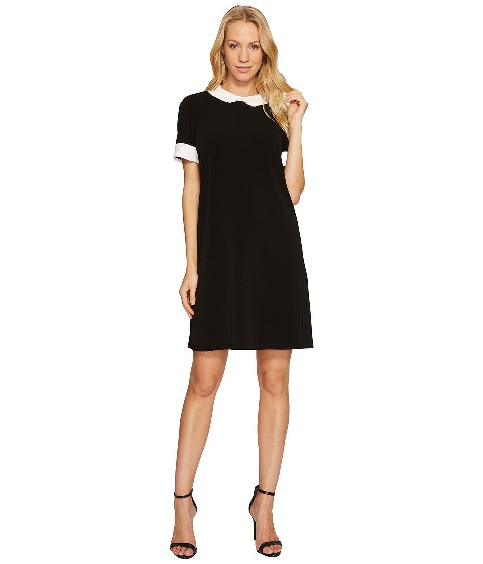 CeCe Short Sleeve Pleat Collar Mix Media Knit Dress (Rich Black) Women