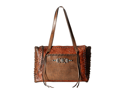 American West Rio Grande Zip Top Tote - Antique Brown/Distressed Charcoal Brown