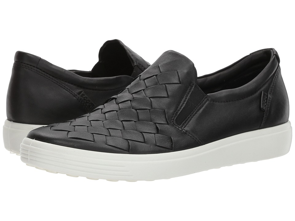 ECCO - Soft 7 Woven Slip-On (Black Cow Leather/Cow Nubuck) Womens Slip on  Shoes