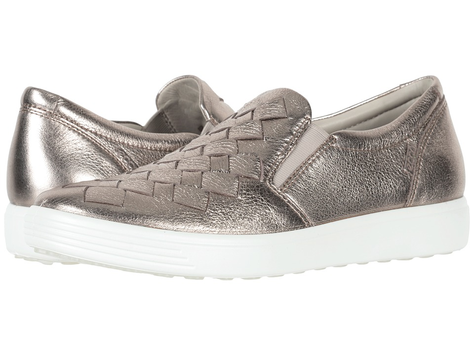 ECCO Soft 7 Woven Slip-On (Warm Grey Cow Leather) Slip-On Shoes