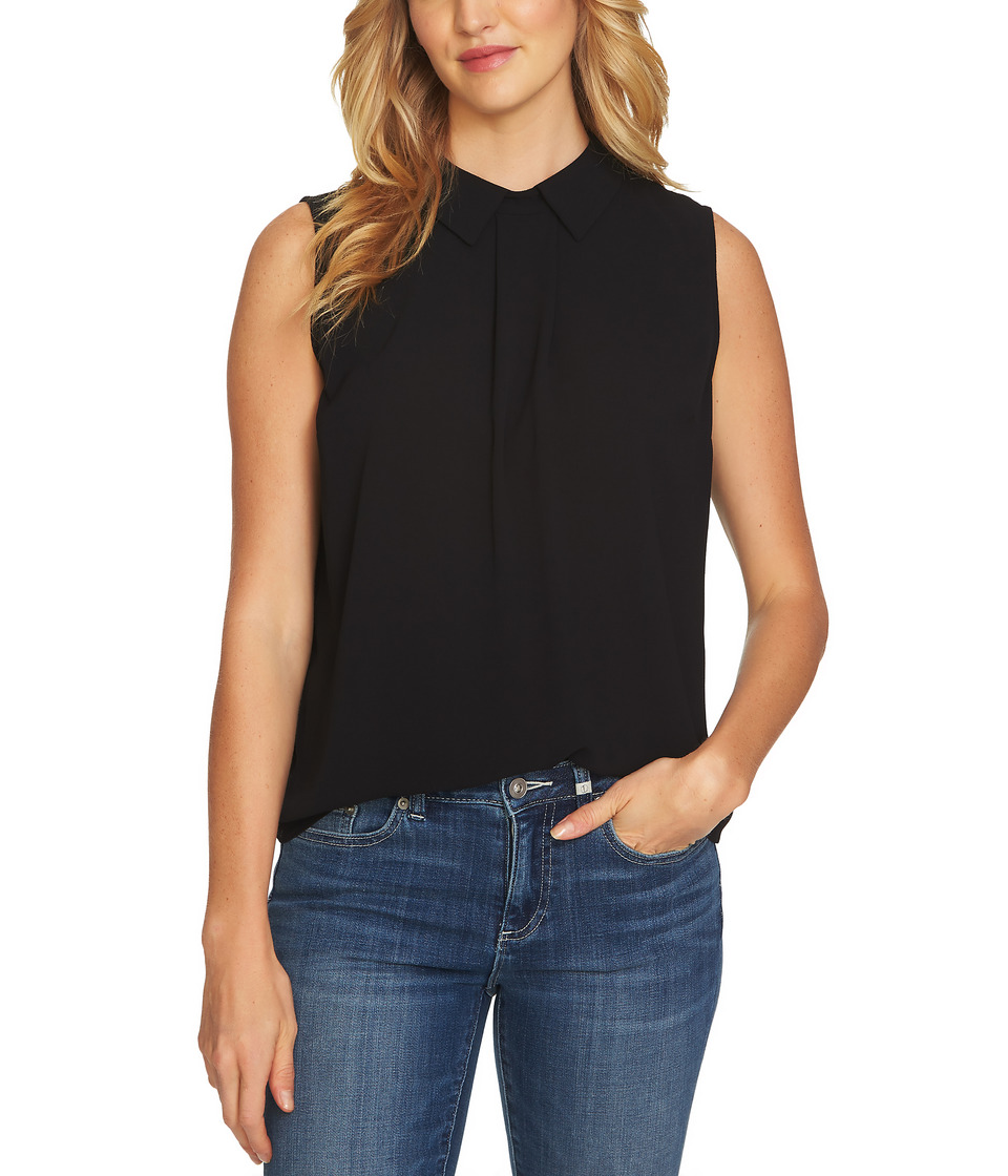 CeCe Sleeveless Textured Pleat Front Collared Blouse (Ric...