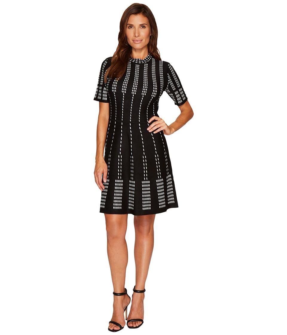 CeCe Short Sleeve Jacquard A-Line Sweater Dress (Rich Black) Women