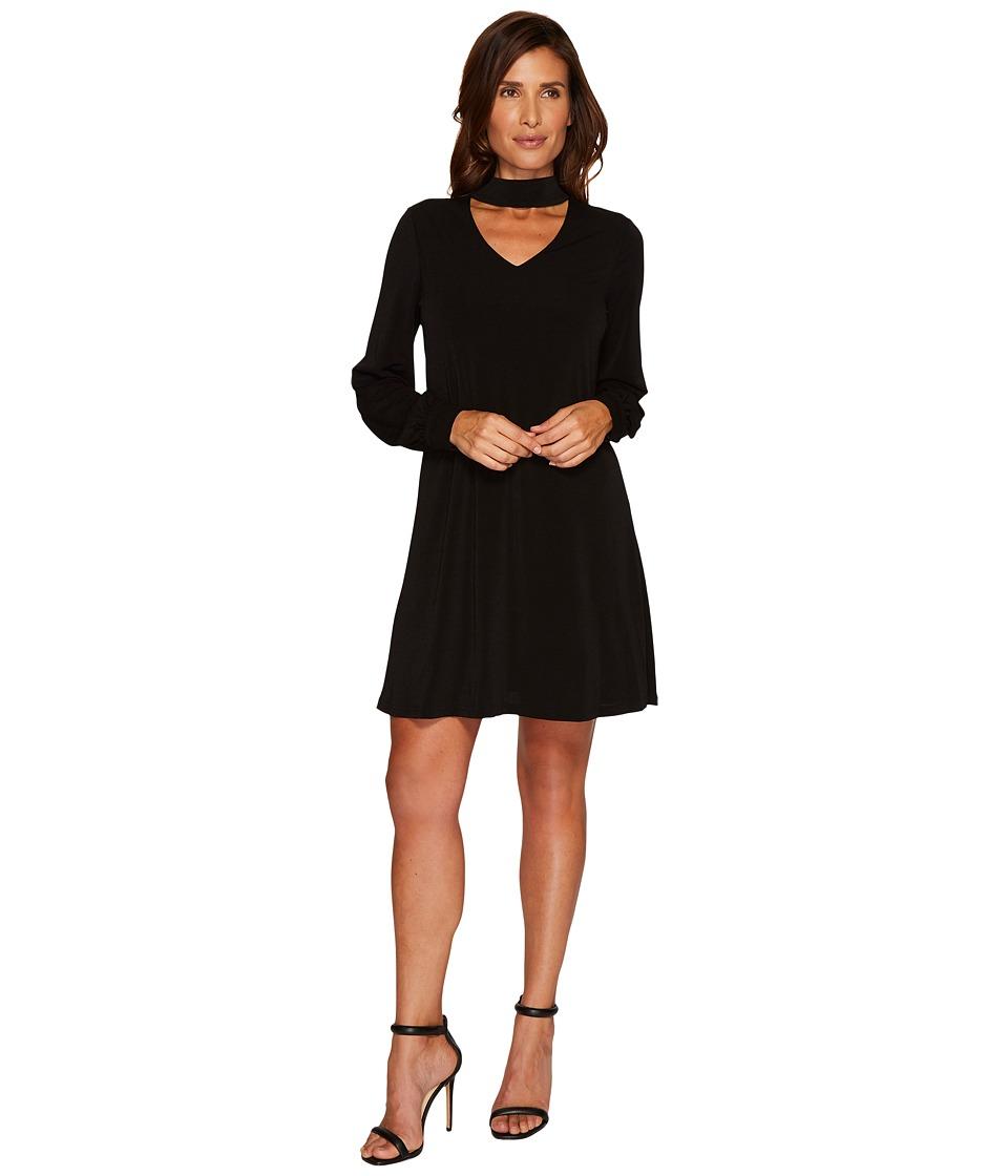 CeCe Long Sleeve Mock Choker Crepe Knit Dress (Rich Black) Women
