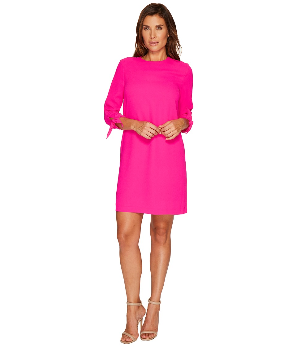 CeCe 3/4 Tie Sleeve Moss Crepe Shift Dress (Hot Magenta) Women