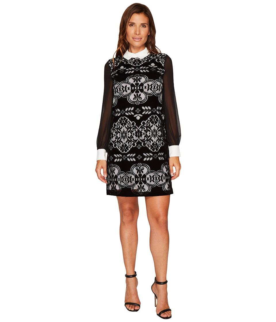 CeCe Chiffon Sleeve Velvet Lace Collared Dress (Rich Black) Women