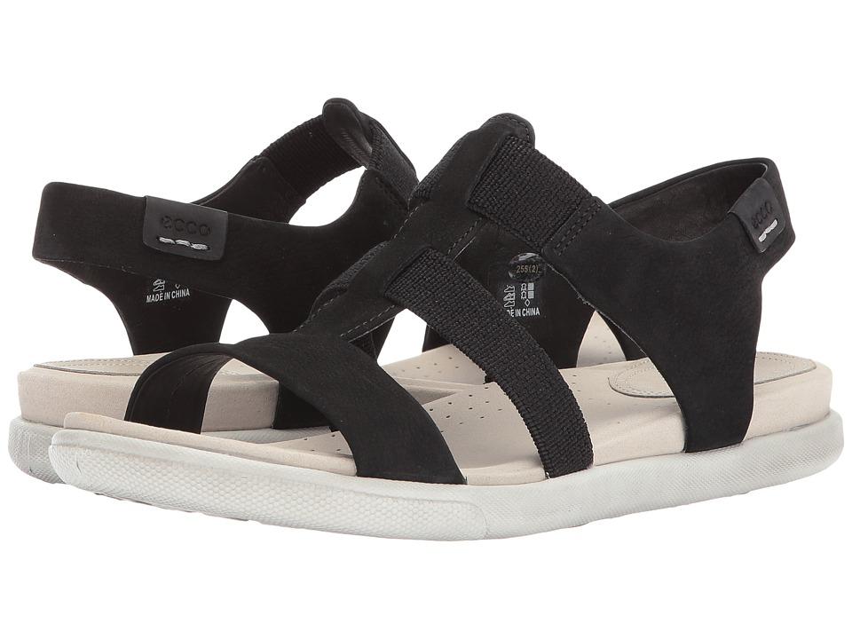 ECCO - Damara Elastic Sandal (Black Cow Nubuck) Women's Sandals