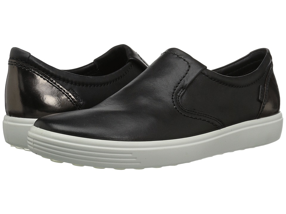 ECCO Soft 7 Slip-On (Black/Black/Dark Clay Cow Leather/Cow Nubuck) Slip-On Shoes