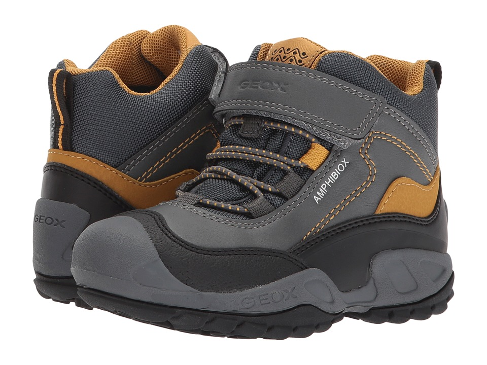 Geox Kids Jr Savage ABX 4 (Toddler/Little Kid) (Grey/Dark Yellow) Boy's Shoes