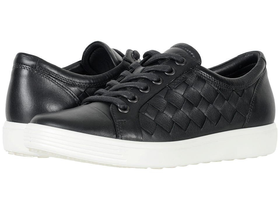 ECCO Soft 7 Woven Tie (Black Cow Leather/Cow Nubuck)
