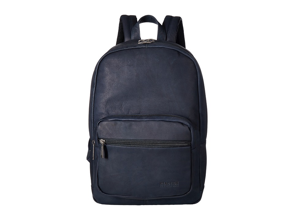 Kenneth Cole Reaction - Colombian Leather Computer Backpack (Navy) Backpack Bags