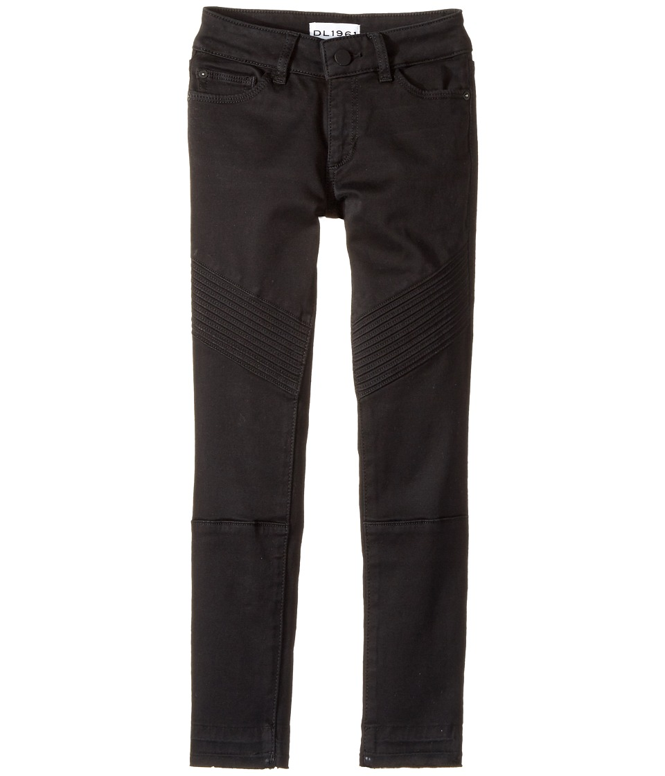 DL1961 Kids Chloe Skinny Jeans in Washed Black Moto (Big Kids) (Washed Black Moto) Girl