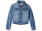 DL1961 Kids - Mid Wash Denim Jacket with Mild Distressing and Angled Hem (Big Kids)