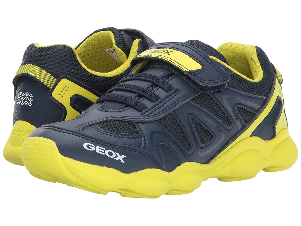 Geox Kids Jr Munfrey Boy 1 (Little Kid/Big Kid) (Navy/Lime) Boy's Shoes