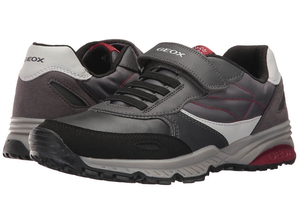 Geox Kids Jr Bernie 16 (Big Kid) (Dark Grey/Red) Boy's Shoes
