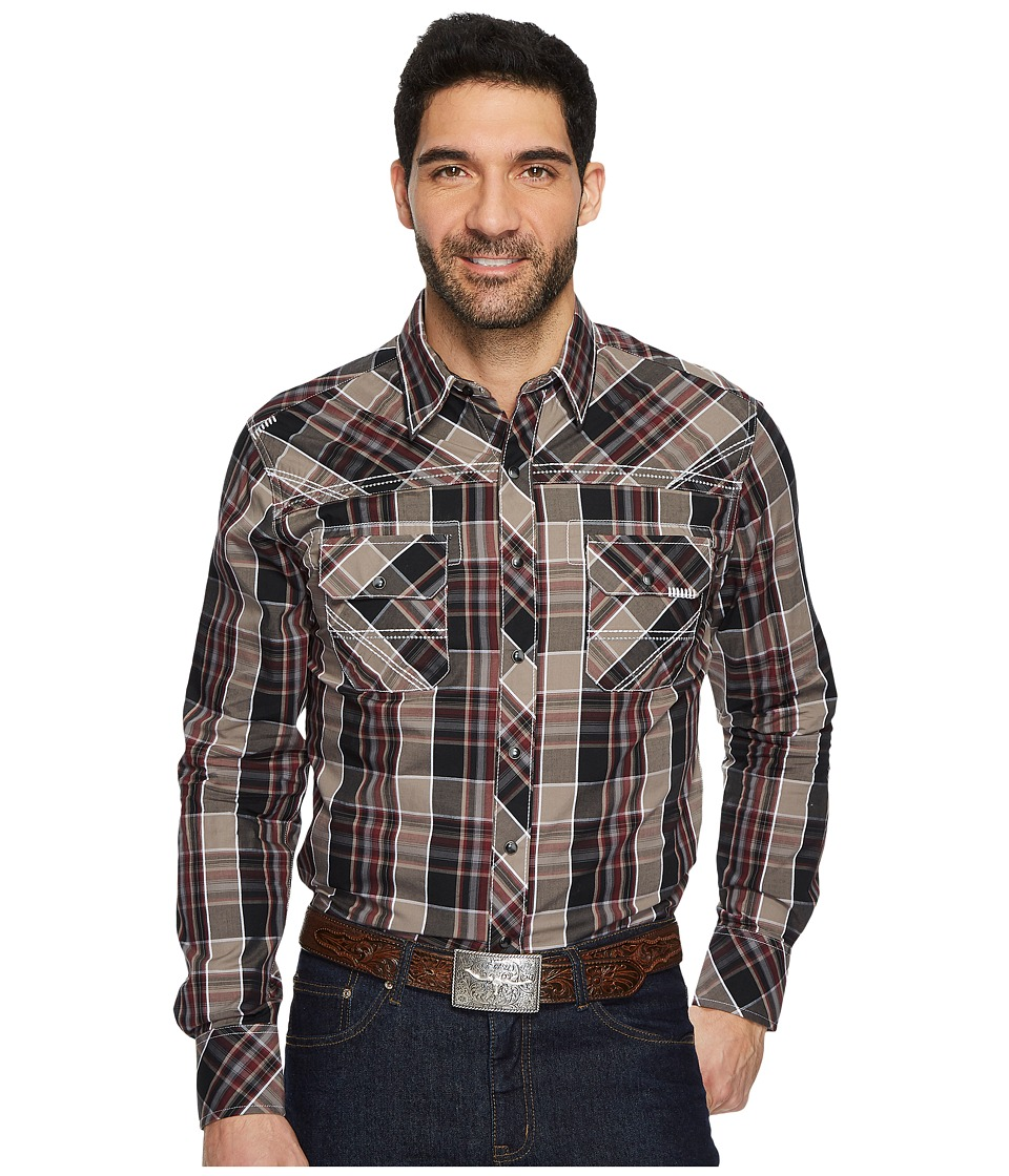 Wrangler Rock 47 Long Sleeve Western Shirt (Black/Brown) ...