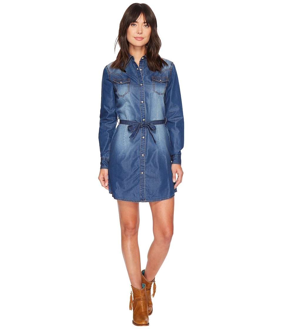 Wrangler - Western Denim Shirt Dress (Dark Denim) Women's Dress