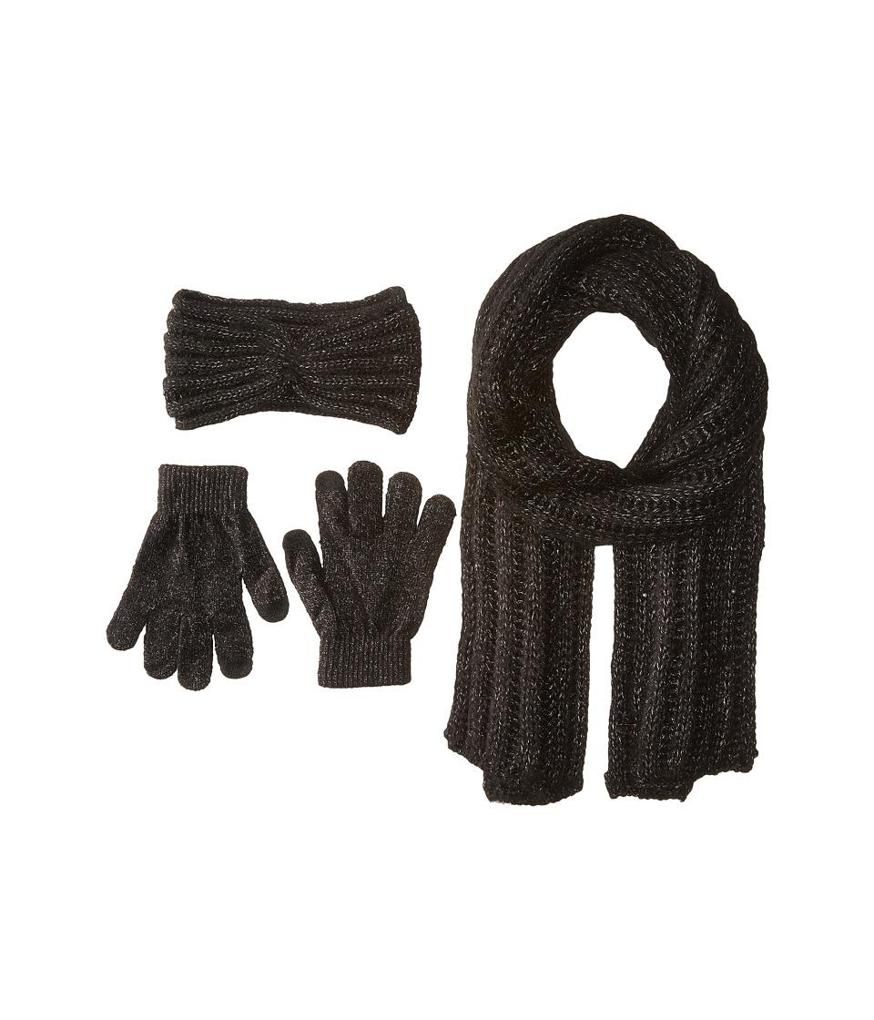 Betsey Johnson - Pearly Orbit Three-Piece Set Rib Knit Headband, Muffler w/ Fringe Touch