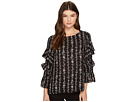 CeCe Long Sleeve Tiered Ruffle Sleeve Floral Vine Blouse