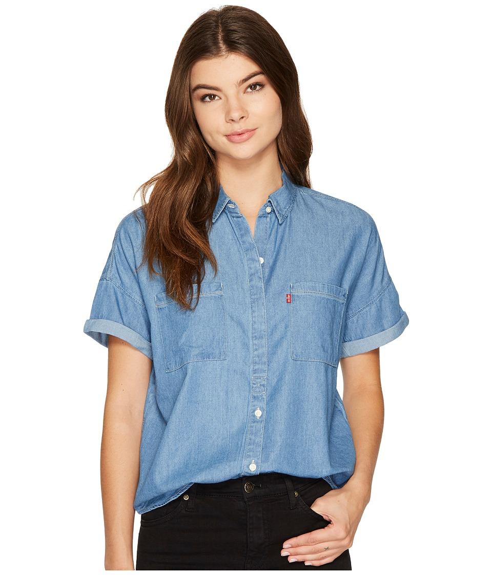 Levis(r) Womens - Short Sleeve Holly Shirt (Dark Mid Wash) Womens Clothing