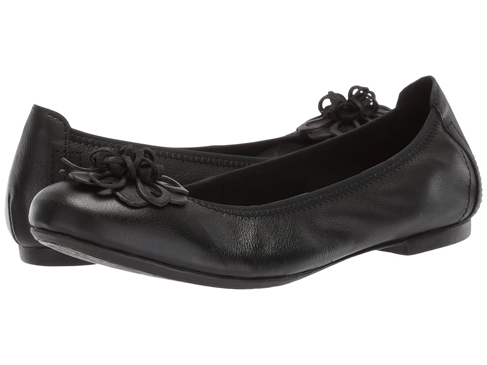 Retro Vintage Flats and Low Heel Shoes Born Julianne Floral Black Full Grain Leather Womens Slip on  Shoes $90.00 AT vintagedancer.com