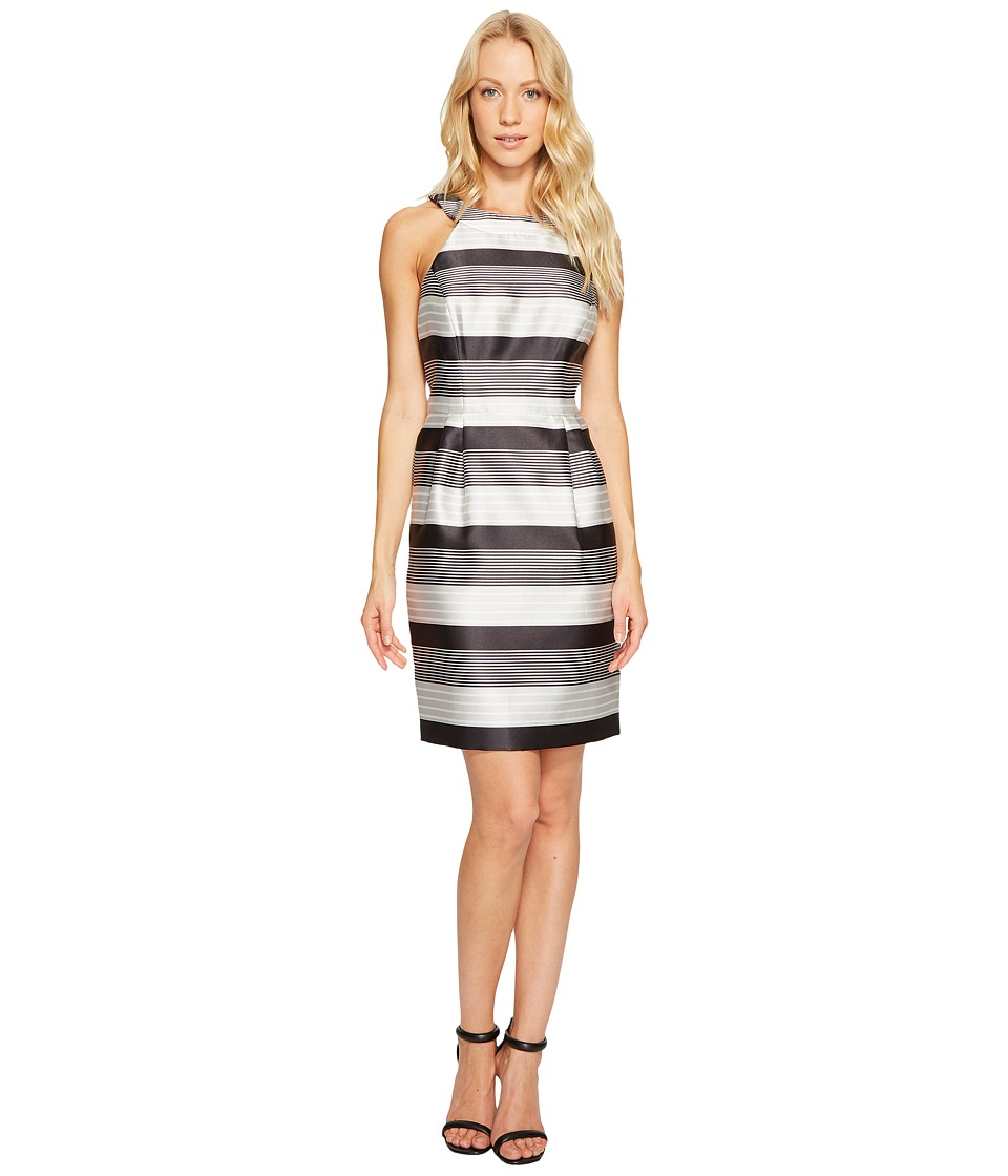 Jessica Simpson - Striped Halter Sateen Dress (Black/White) Womens Dress