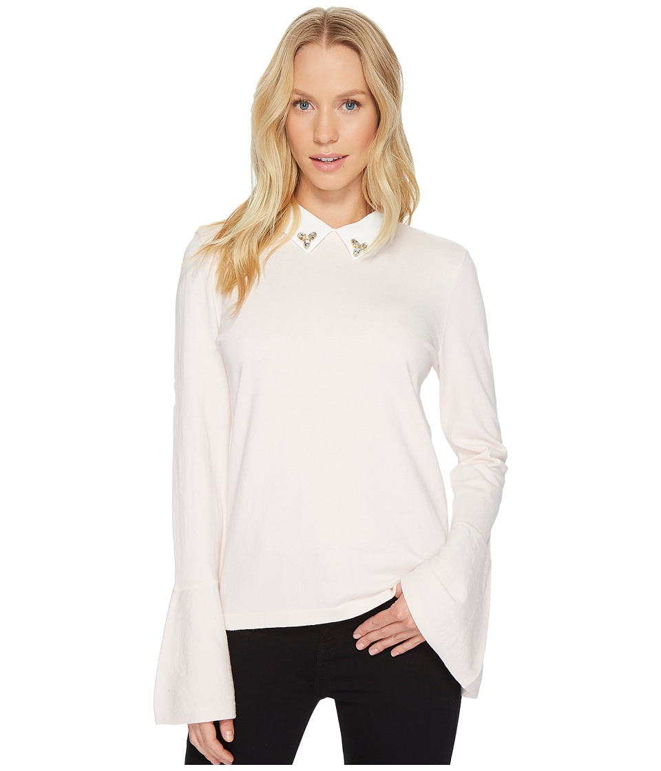 CeCe - Flare Sleeve Embellished Collar Pullover
