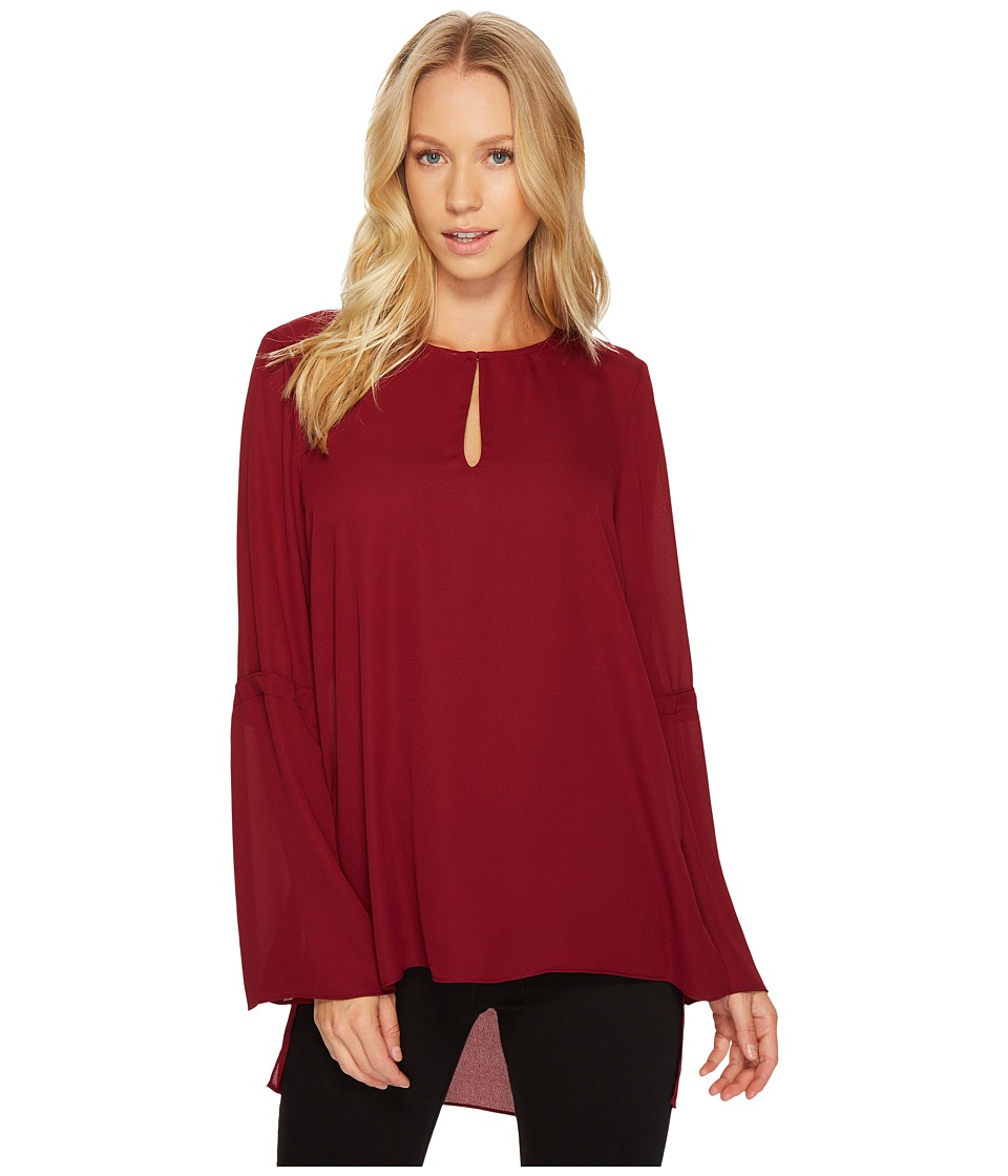 CeCe - Bell Sleeve Lightweight Crepe Keyhole Tunic