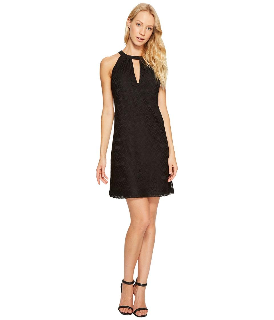 Jessica Simpson Halter Neck Lace Dress (Black) Women