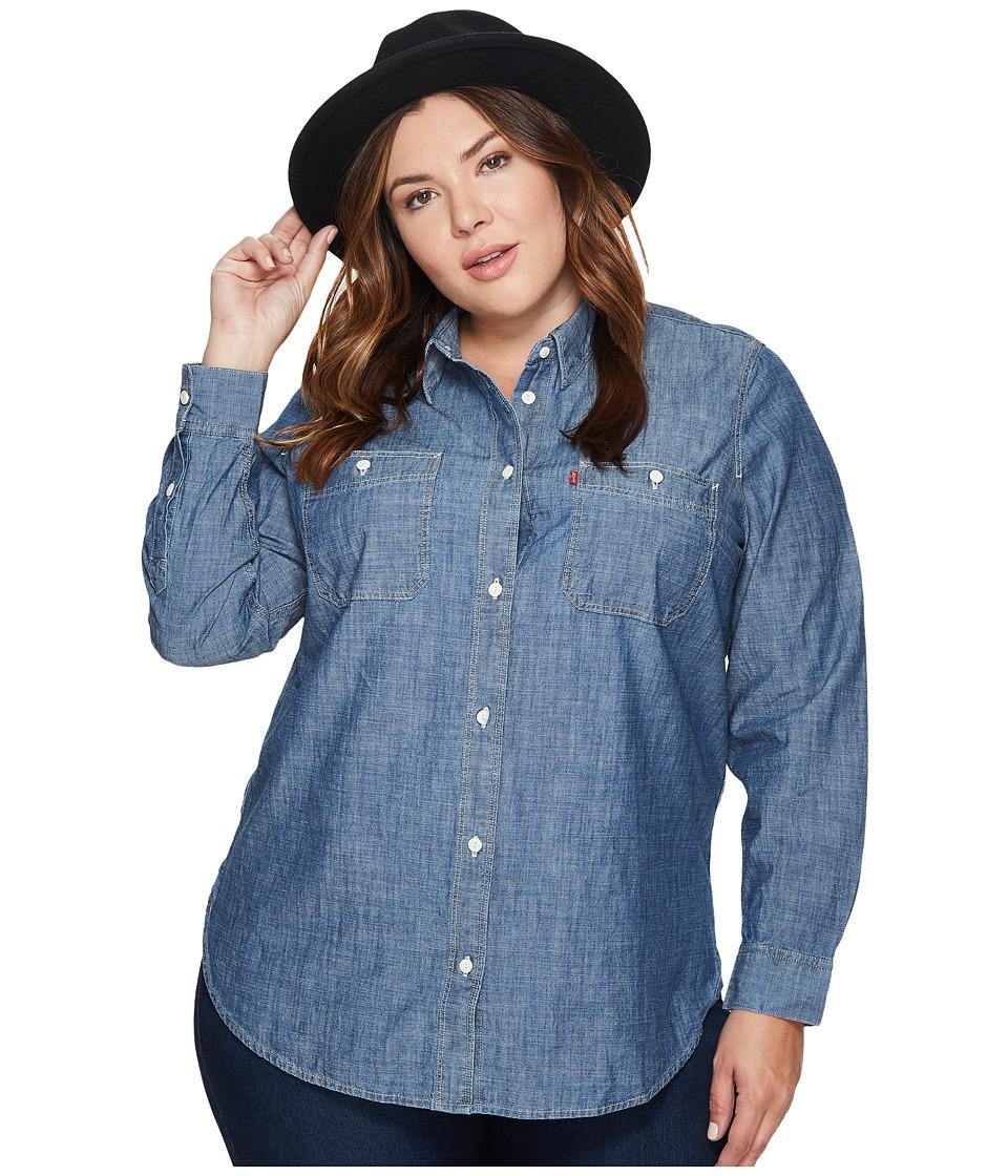 Levis(r) Plus - Workwear Boyfriend Long Sleeve Woven (Dark Mid Wash) Womens Long Sleeve Pullover