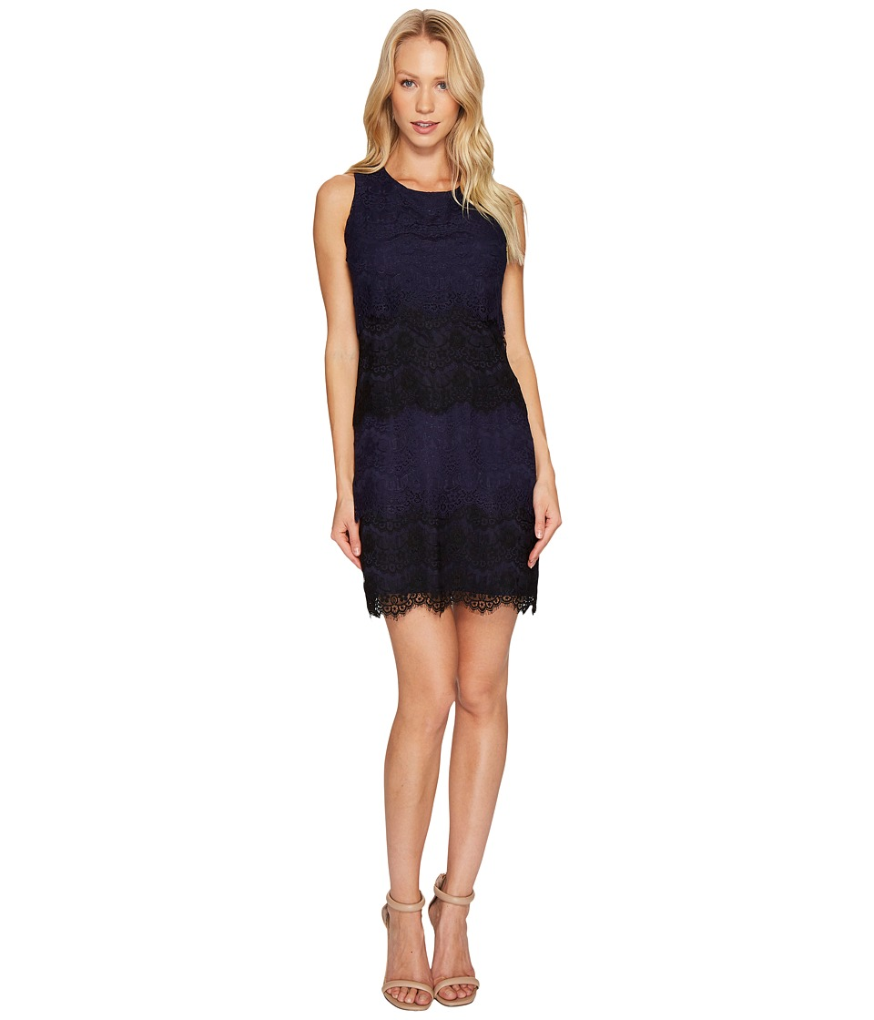 Jessica Simpson Tiered Lace Dress JS4R4533 (Navy/Black) Women