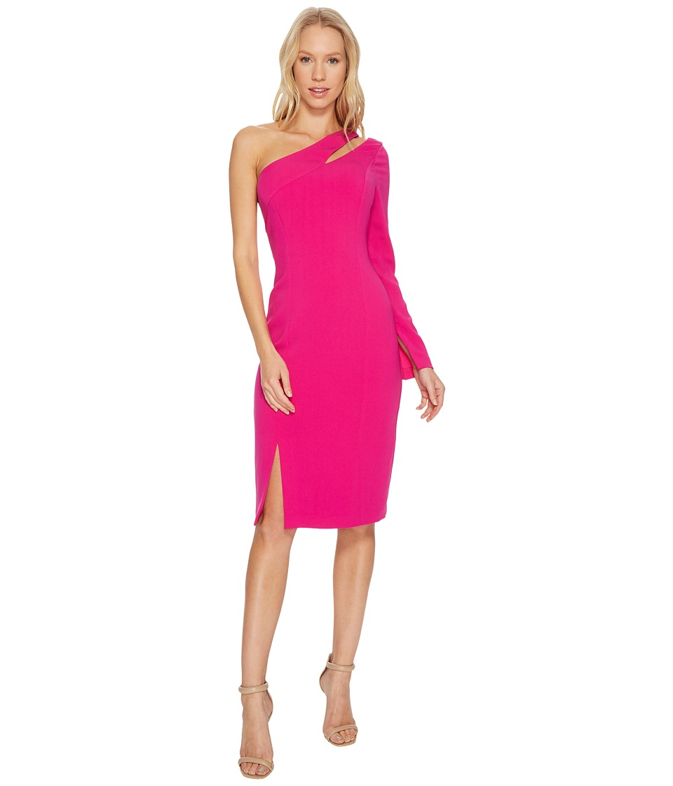 Laundry by Shelli Segal One Sleeve Fitted Crepe Dress with Cut Outs (Electric Pink) Women