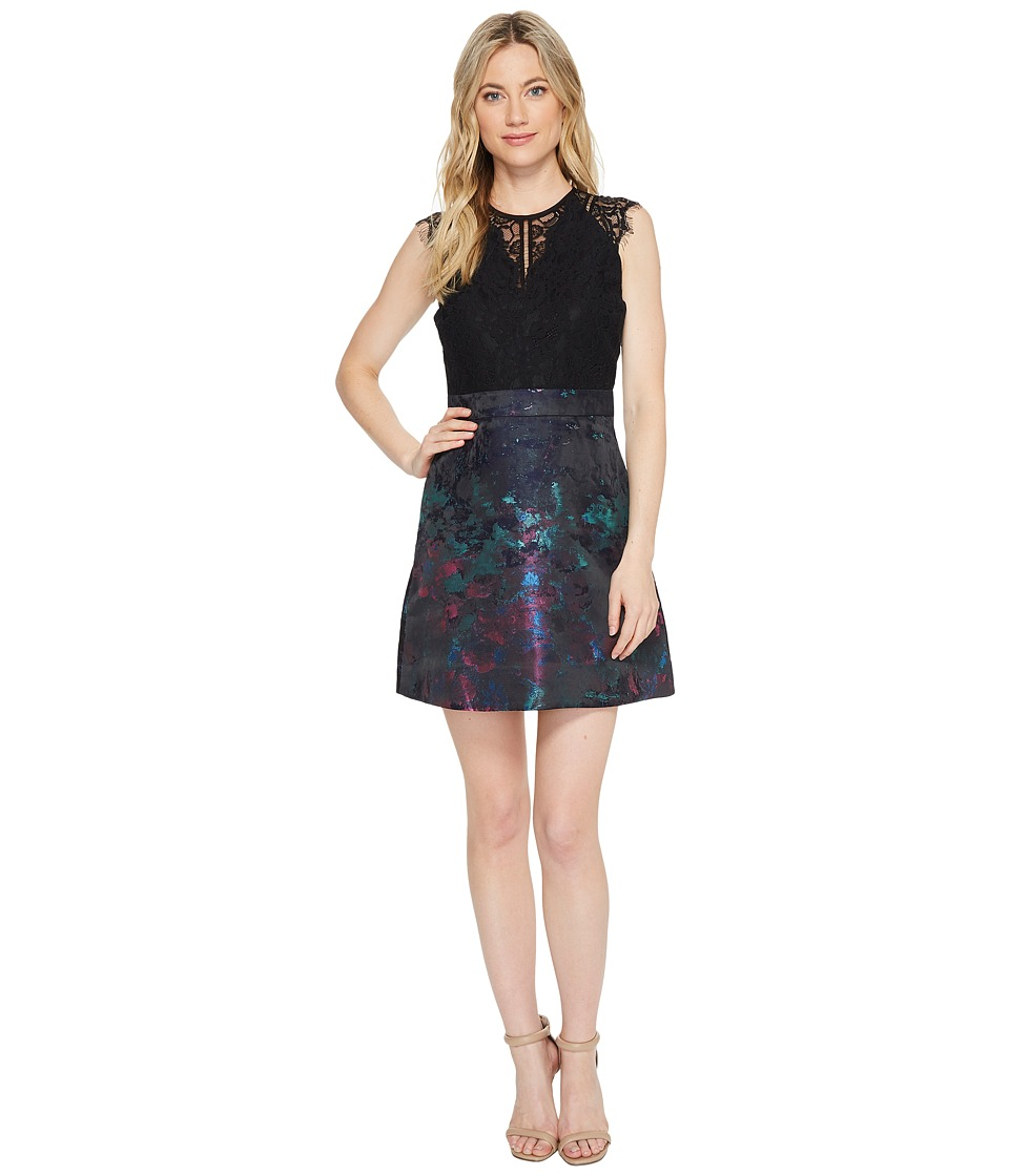Laundry by Shelli Segal Colorful Jacquard Fit Flare Dress with Lace Applique (Black) Women