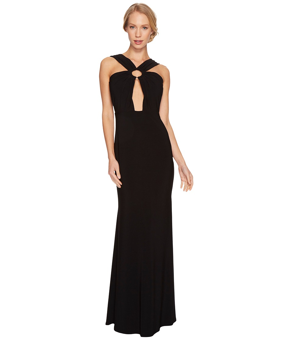 Laundry by Shelli Segal Front Keyhole Gown with Metal Ring (Black) Women