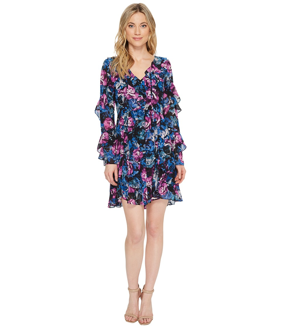 Laundry by Shelli Segal - Floral Printed Dress with Ruffle Detail (Black) Womens Dress