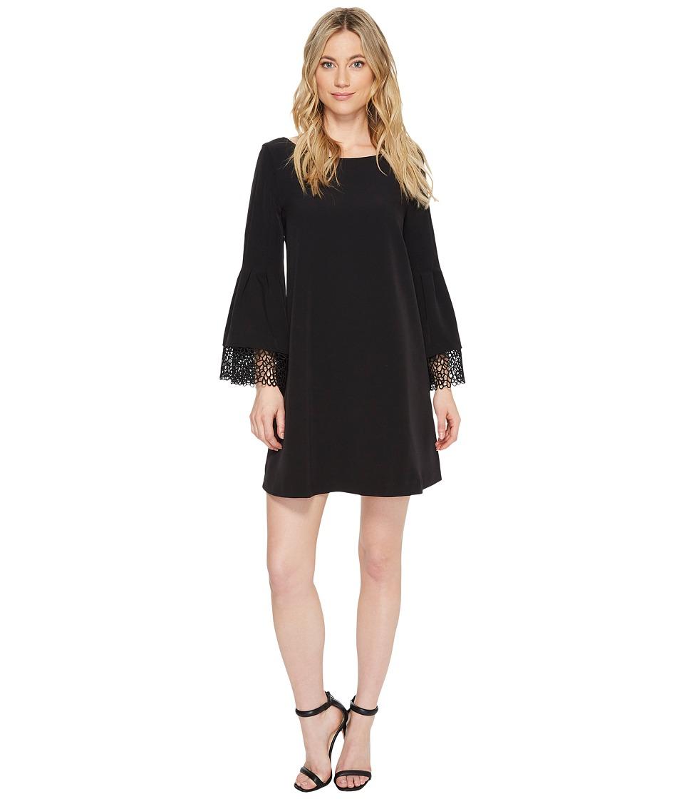 Laundry by Shelli Segal Shift Dress with Lace Sleeve Hem Detail (Black) Women