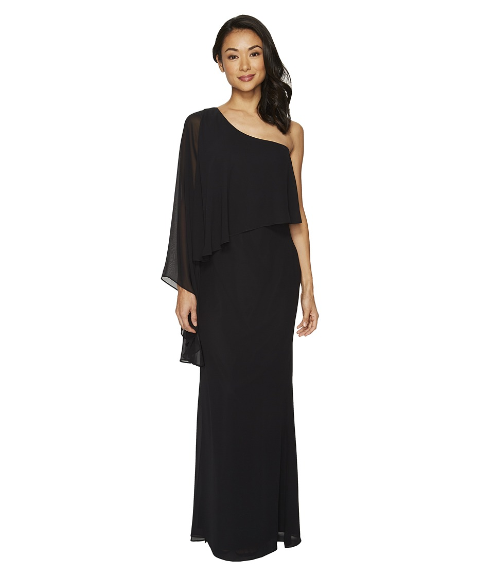 Laundry by Shelli Segal One Shoulder Popover Chiffon Gown (Black) Women