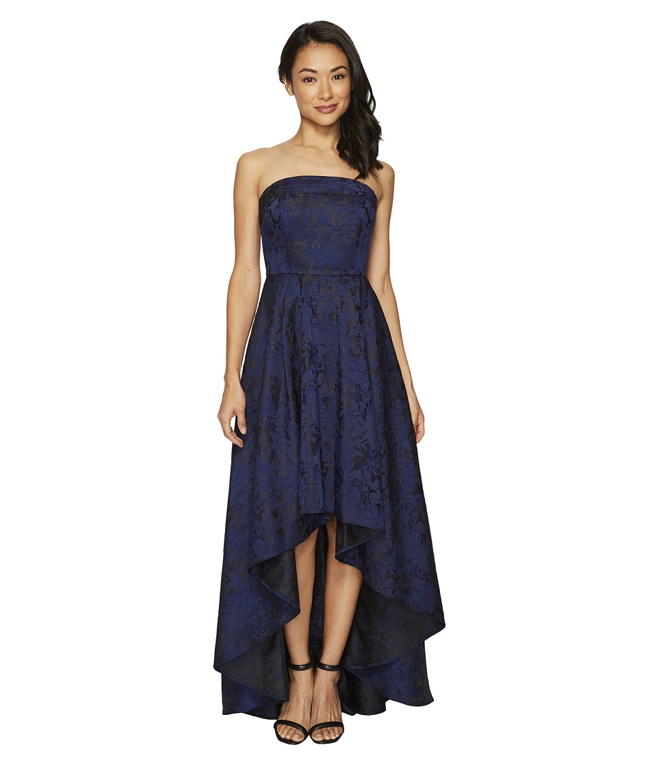 Laundry by Shelli Segal Pleated Band Strapless Hi-Lo Gown (Vibrant Blue) Women