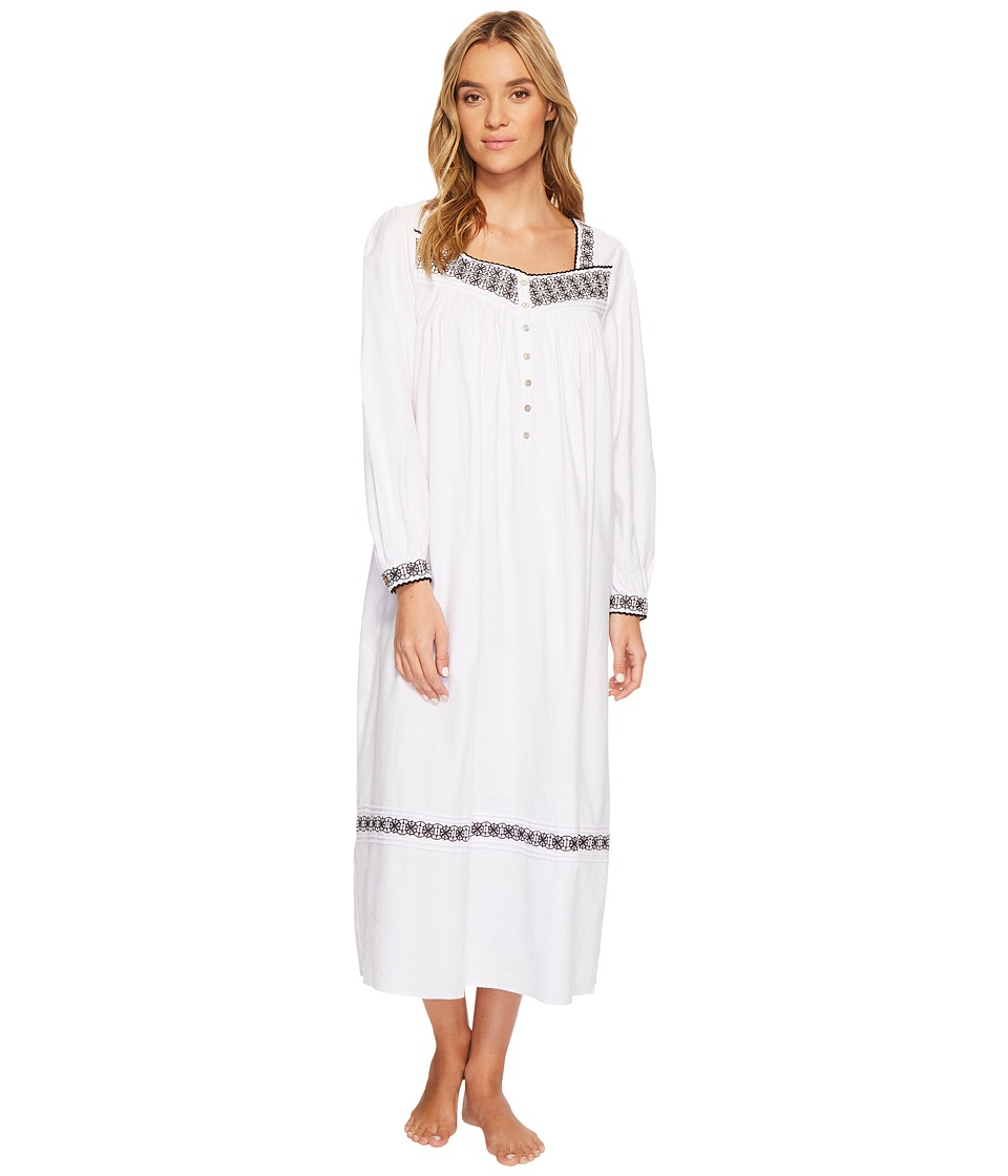 Eileen West Embroidered Flannel Ballet Nightgown (White G...