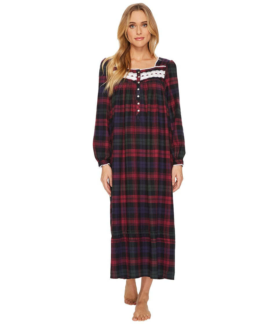 Victorian Nightgowns, Nightdress, Pajamas, Robes Eileen West - Plaid Flannel Ballet Long Sleeve Nightgown VioletMultiPlaid Flannel Womens Pajama $74.00 AT vintagedancer.com