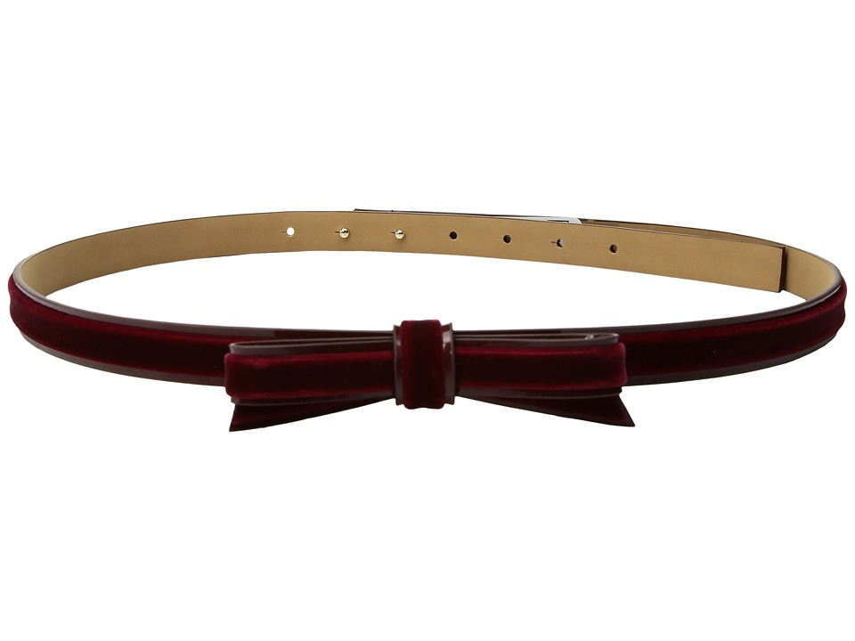 Kate Spade New York - 16mm 5/8 Velvet Classic Bow Belt with Piped Edges