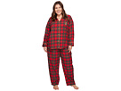 LAUREN Ralph Lauren Plus Size Folded Brushed Twill Notch Collar Pajama